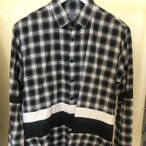 Les Hommes black and white check shirt